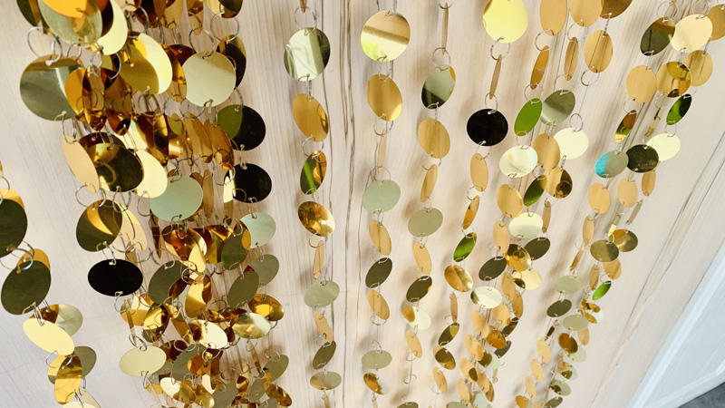 Interior backdrop decoration material customize mirror gold sequin wall curtains