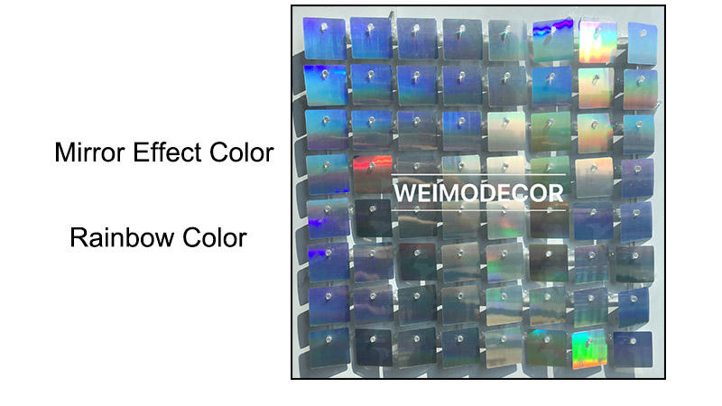 China Weimodecor Sequin Panel Mirror effect color-- Rainbow colour
