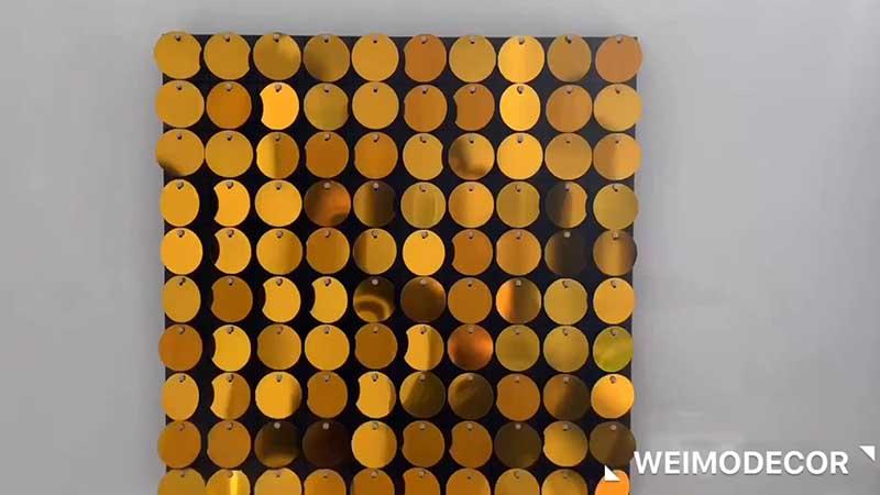 Sequin panel in gold for outdoor advertising Luxe107