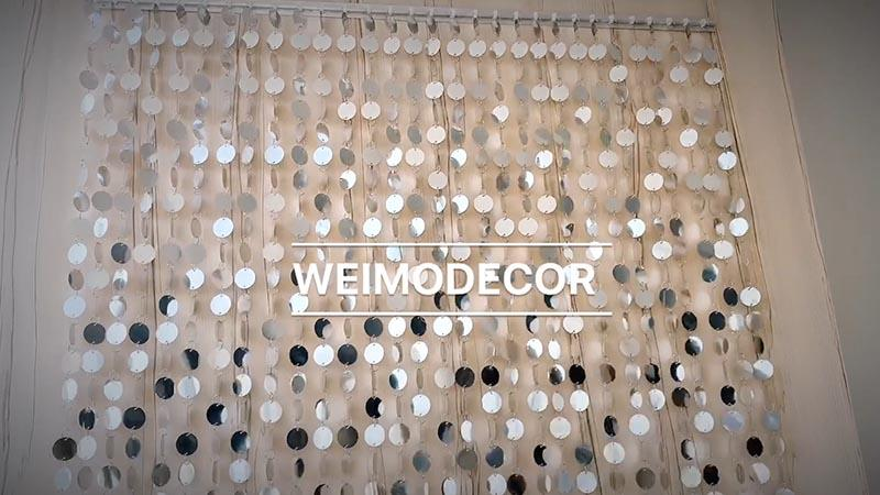 Sequin curtain with 3cm silver circle sequins for decoration